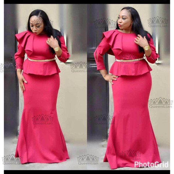 top popular 2017 African CLothing Fake Two Pcs Long Dress WIth Belt Dew shoulder For Lady 2021