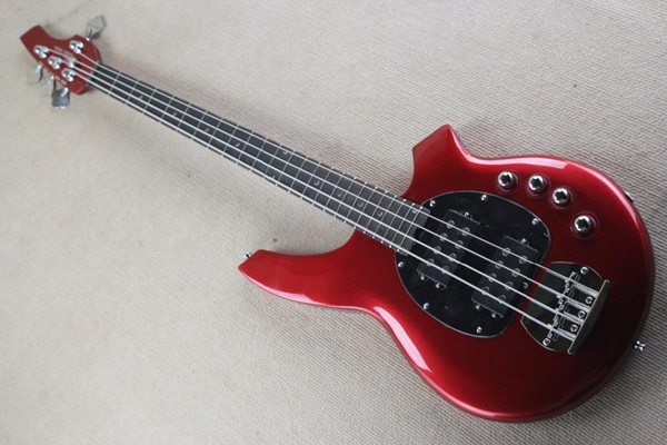 Free shipping Real photos Hot Selling High Quality Active Pickup Musicman Bongo red 4 String Music Man Electric Bass Guitar