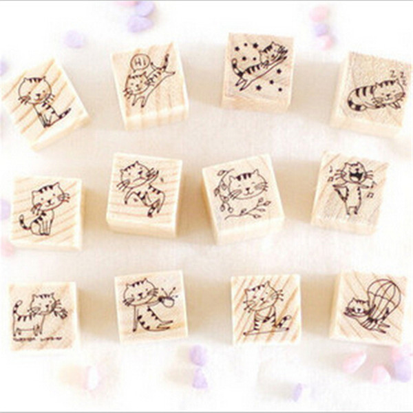 best selling free shipping carimbo para artesanato Korean DIY sello Cute cat Stamp Wood Stamps for Decoration Scrapbooking Stationery