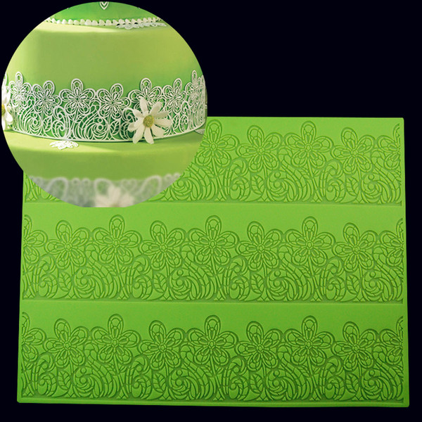 39*29 CM BIG size Flower Cake Mold Decorating Fondant Silicone Mold Sugar Lace Mat Embossing Mold For decoration