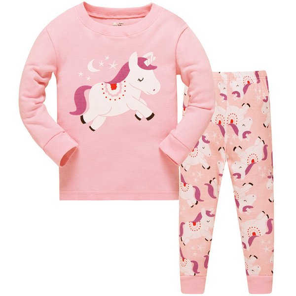 Kids Pajamas Girl Cotton Sleepwear Kids Unicorn Pajamas Unicorn Pattern Clothing Top+Pants 2 pcs Clothing pajamas for 1~7 years 6 sets/l