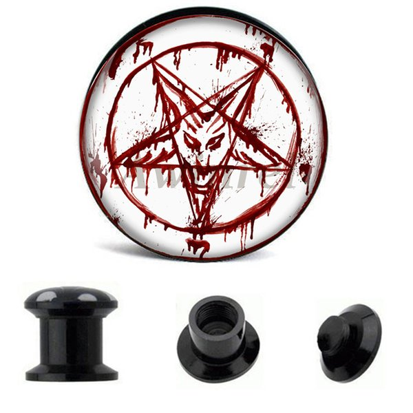Venta al por mayor Ear Gauge Plugs Red Baphomet tornillo acrílico Fit túnel de la carne Plug Eyelet Body Piercing Jewelry 6mm-25mm AW40221