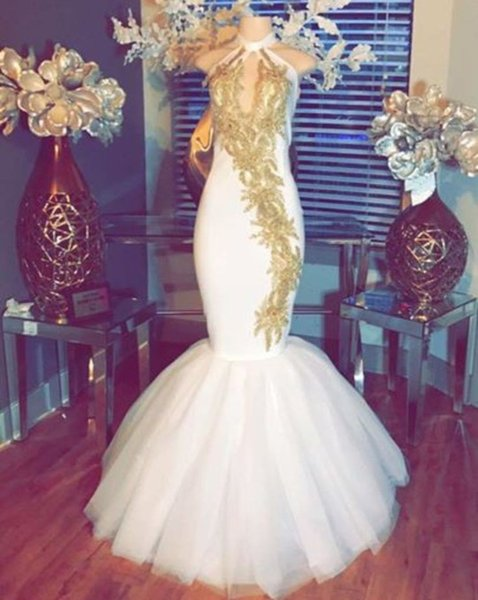 Gold Lace Mermaid Prom Dresses 2018 New Sleeveless Keyhole Neck Floor Length Tull Formal Evening Dress Party Gowns Custom Made Plus Size