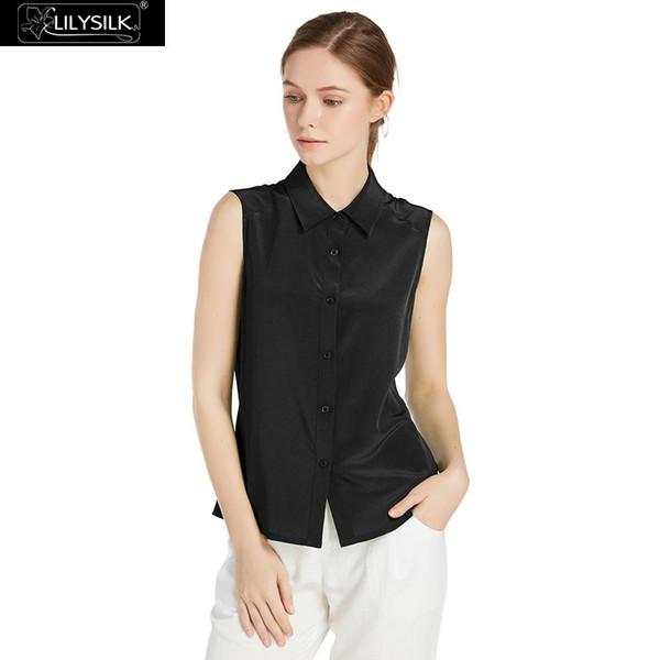 34074ab15 LILYSILK Blusa Camisa Mujer Seda de Mulberry 18 MM Línea de hombro  inclinado Tops elegantes para