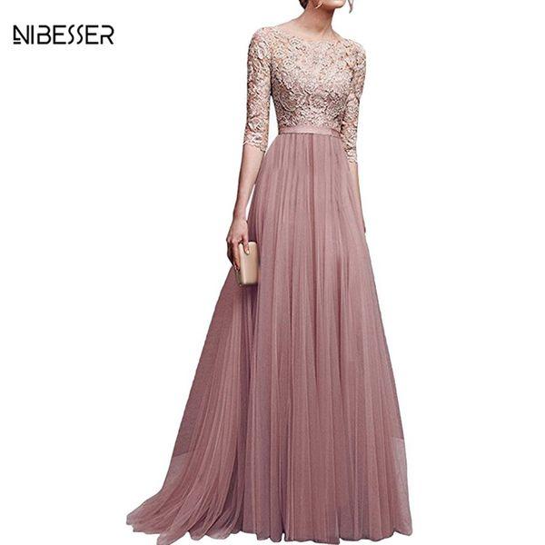 top popular NIBESSER Bandage Long Dress Vintage Women Vestidos High Waist Evening Gown Chiffon Sequined Party Dresses Plus Size Female Girls 2021