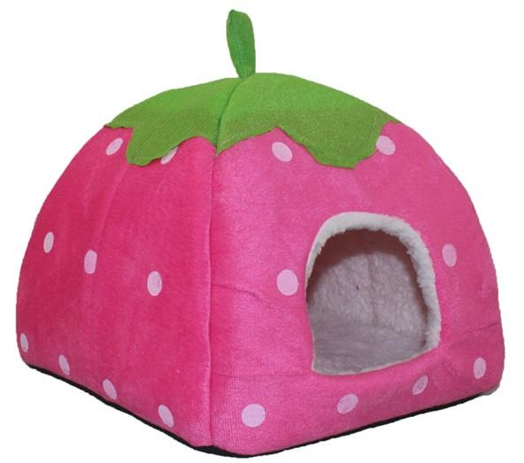 Lovely Strawberry Soft Cashmere Warm Pet Houses Textile Dog Cat Bed Fold-able Nest Houses Pink