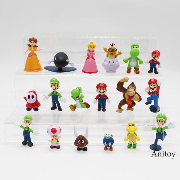 Toys Hobbies Action Toy Figures Wholesale Retail Free Shipping Plastic Super Mario Bros PVC Action figures Toys Dolls 18pcs/set KT3863