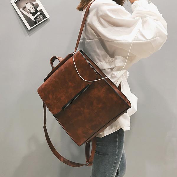 Sac à dos en cuir PU femme sac à bandoulière pour les adolescentes Sacs à bandoulière dames Top-poignée grande capacité Vintage
