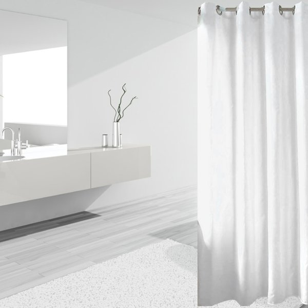 180180 Elegant Waterproof White Polyester Fabric Extra Long Shower Curtains Liners Super Thicken Plain