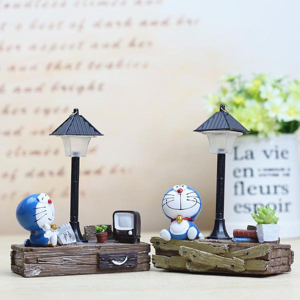 Acheter Résine Mignon Doraemon Modèle Figurines Fée Animaux Miniatures  Salon Chambre Nuit Lumière Jardin Décoration De La Maison Artisanat Cadeaux  De ...