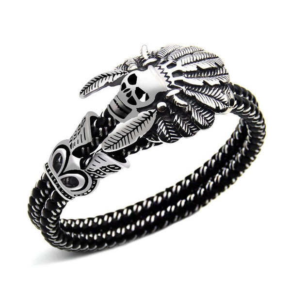 Fashion Jewelry Double leather Bracelet Casual Personality Rock Punk Titanium steel Skull Bracelet for men Free shipping 2018 new in stock