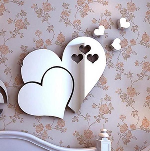 Adesivi Da Specchio.Acquista Adesivo Da Parete Adesivi Da Parete Autoadesivi Moda 3d Specchio Love Hearts Decalcomania Diy Home Room Art Decorazione Murale Apr5 A 32 57