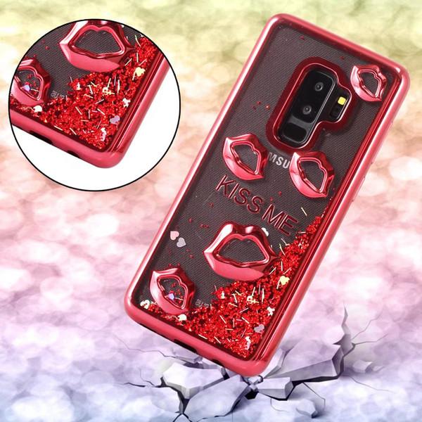 Lujo Lip Metallic Quicksand TPU suave para Galaxy S7 (J7 J5 J3) 2017 Europa 2016 Kiss Me Love Cromado Bling Liquid Liquid Cubiertas