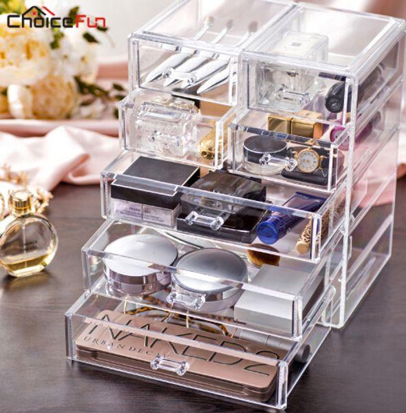 La migliore vendita grande scrivania trasparente acrilico cassetti scrigno grande stoccaggio di plastica trucco cosmetico organizzatore per le decorazioni