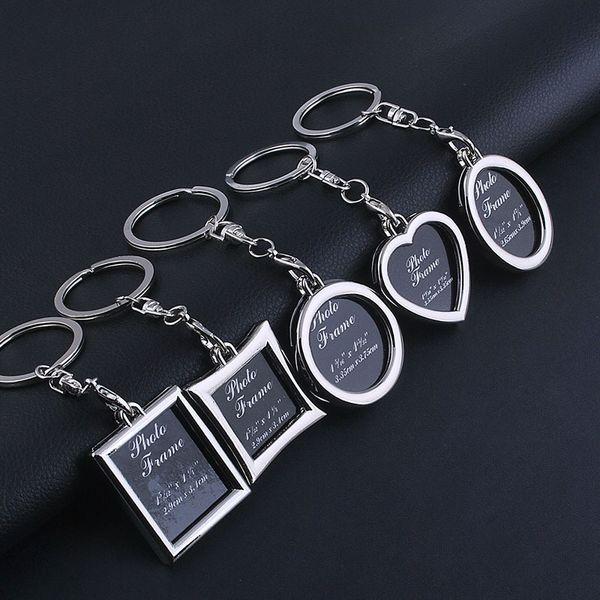 top popular 2000pcs Photo Frame Round Heart Apple Oval Rhombus Shape Metal Alloy Keychain Key Chain Keyring Car Keychains Couples Keyring Gift 2020