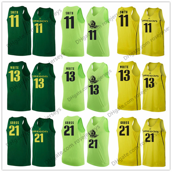 Oregon Ducks #11 Keith Smith 13 Paul White 21 Evan Gross 10 Victor Bailey Jr. Apple Green Yellow NCAA College Basketball Jerseys S-3XL