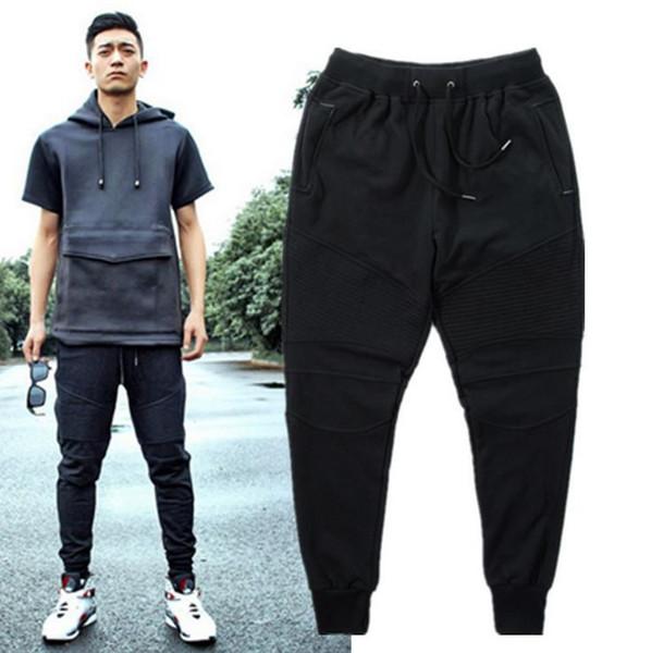 Wholesale-Fashion Biker Joggers Slim Fit Skinny Sweatpants Harem Pants Man Hip Hop Swag Clothes Clothing Men Gray Black Pants