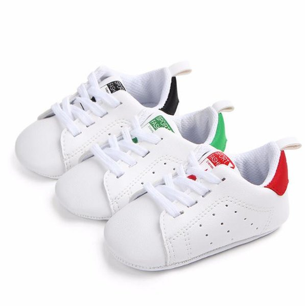 Infant Toddler Shoes Girls Boys Lace-up Crib Shoes Newborn Baby Prewalker Soft Sole Sneakers Spring&Autumn White Shoes