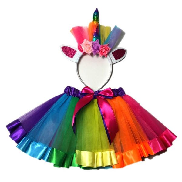 Pannello esterno del tutu del Rainbow della gonna dei bambini all'ingrosso della fabbrica con l'insieme della fascia del fiore