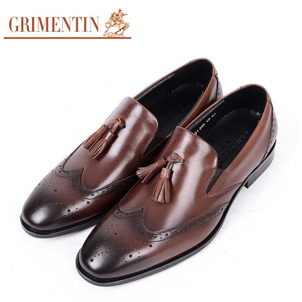 GRIMENTIN Hot sale Men shoes Italian fashion black brown mens loafers genuine leather tassel business formal wedding mens dress shoes