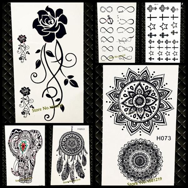 Waterproof Temporary Tattoo Sticker Women Flash Tattoo Mandala Design GH073 Black Henna Body Arm Art Legs Indian Totem