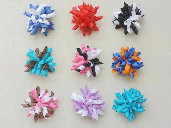 50 pcs da menina 2.5 polegadas curlers curly hair hair bows clips flores cork cabelo presilhas korker fita acessórios para o cabelo do bebê PD004