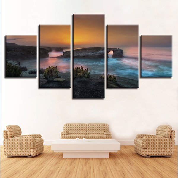 Modular Canvas Printed Pictures 5 Pieces Sunset Sea Rock Wave Seascape Paintings Wall Art Poster Framework For Living Room Decor