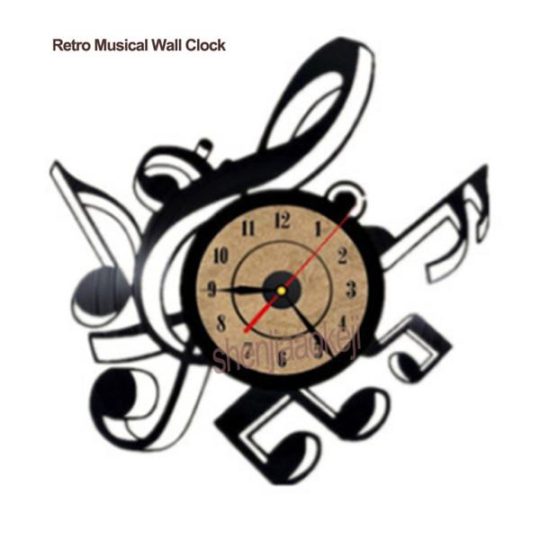 Retro Musical Relógio de Parede Sala de estar Relógio de Parede de Vinil Do Vintage Temas Musicais CD Record Grande 3D Home Decor Assista 1 pc