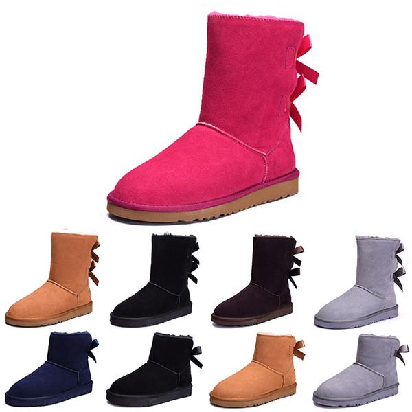 Cheap Australia Classic WGG women winter boots chestnut black grey navy blue designer womens snow boots ankle knee boot size 5-10