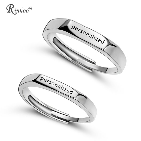 RINHOO 2p Stainless Steel Personalized Custom Rings For Women Men Jewelry Engraved Name Letters Word Rings Valentine's Day Gift