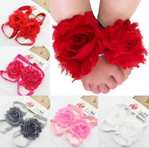New Summer Mesh Chiffon Barefoot Flower Baby Chiffon Flower Sandals Infants and young children child Foot flower cover Two sets Photography