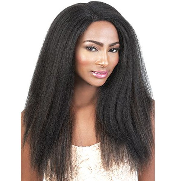 Kinky Straight Full Lace Human Hair Wigs For Black Women Cheap Coarse Yaki Brazilian Virgin Hair Lace Front Wigs 130% Density Natural Color