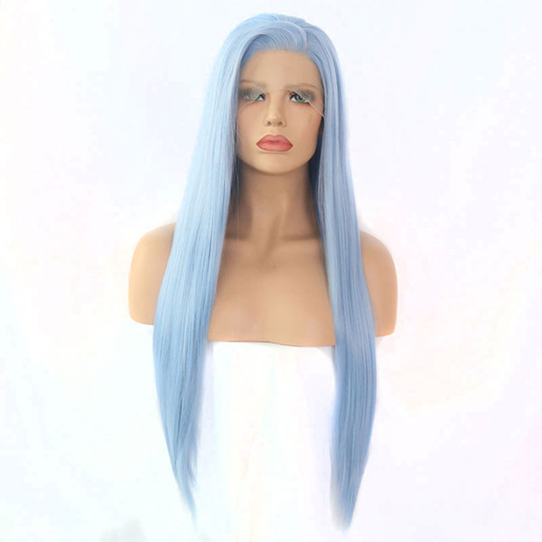 Light Blue Wig Long Straight Synthetic Lace Front Wig Heat Resistant Fiber Hair Natural Hairline Side Part