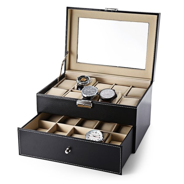 Luxury 20 Grid Leather Watch Box Jewelry Display Collection Storage Case Drawer-style PU Watch Organizer Box Holder reloj caixa