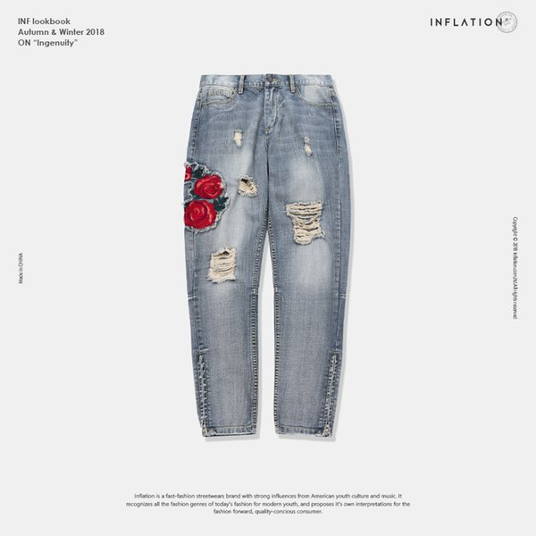 INFLATION Flower Embroidery Blue Jeans Ripped Denim Jeans For Men Denim Fashion Skinny Mens Silm 8877W
