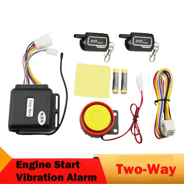 Zwei 2-Wege-Motorrad-Alarmanlage Remote Engine Start Long Range Überwachung Vibration Anti-Diebstahl-Alarm Sicherheitsschutz