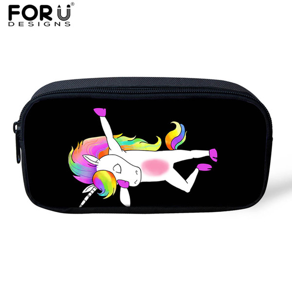 FORUDESIGNS Women Small Cosmetic Case Makeup Bag Funny Unicorn Pony/Panda /Pig Swag Kids Girls Pencil Bags Student Pen Pouch Bag