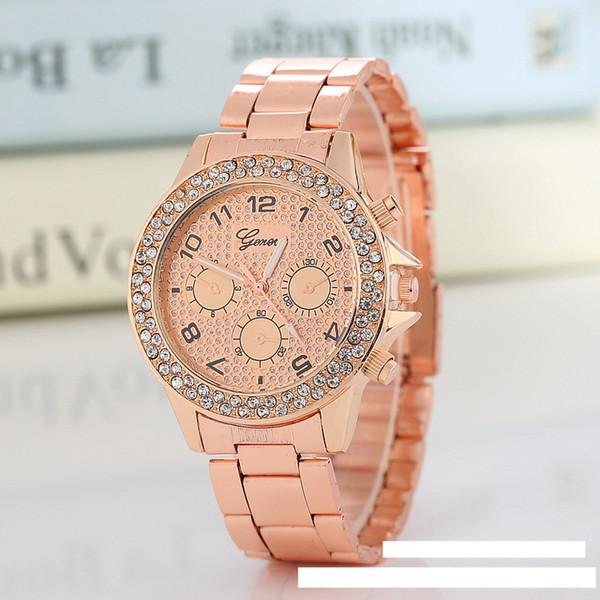 YENI Marka İzle Kuvars Bayanlar Altın Moda Bilek Saatler Elmas Paslanmaz Çelik Kadınlar Cenevre Kol Saati Kız Kadın Saat saatleri
