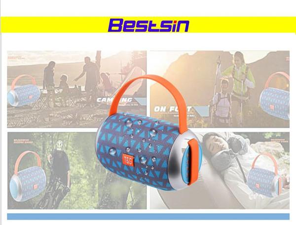 Bestsin Nouveau Tissu Tambour Double Face Portable Bluetooth Haut-Parleur Sans Fil TG112 Carte U disque FM Haut-Parleur Portable