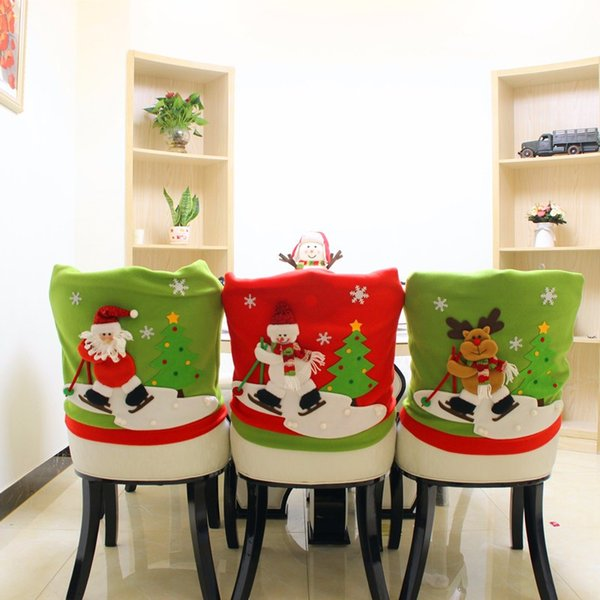 1Pc Lovely Christmas Chair Covers Santa Claus Deer Snowman Doll Christmas Dining Room Chair Cover Home Party Decoration