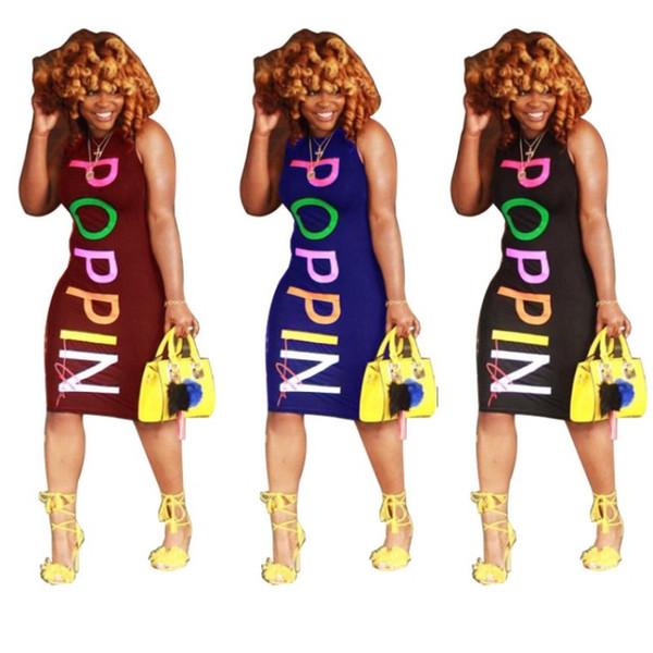POPPIN kadınlar yaz diz boyu elbise tasarımcısı bodycon kolsuz etekler baskı mektubu elbiseler casual etekler 2018 moda kadın giysileri yüksek
