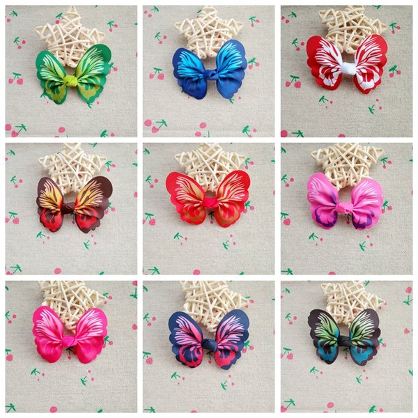 50pcs/lot PET SHOW butterfly style bowknot Small Dog Hair Bows With Clips Pet Supplies Cat Puppy Grooming Topknot Hair Accessories 2.3""