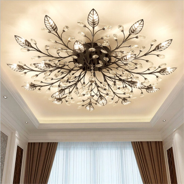 Modern K9 Crystal LED Flush Mount Ceiling Chandelier Lights Fixture Gold Black Home Lamps for Living Room Bedroom Kitchen