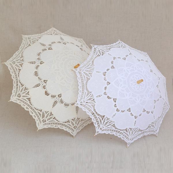 El yapımı zanaat şemsiye gelin dantel şemsiye düğün şemsiye fotoğraf sahne siyah beyaz bej ücretsiz kargo wen6854