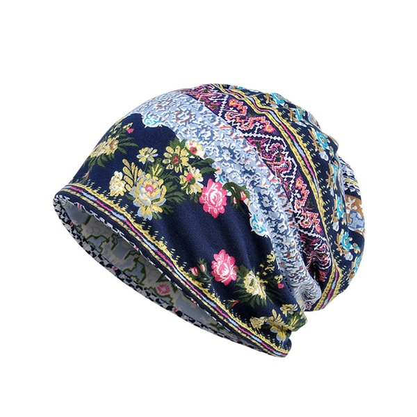 2018 Women's Hat Floral Prints 2 Use Cap Cotton Scarf Beanies Women Hip-Hop Skullies Warm Girls Scarf Collar Turban Head Wrap