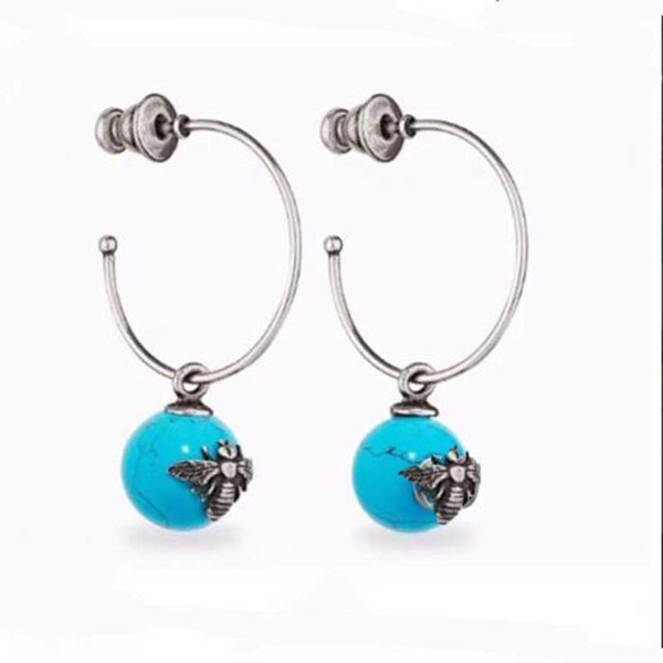 Retro Silver Bee Letters Earrings With Stamp Ceramic Beads Dangle Earrings 925 Silver Needle Earring For Women Party Prom Jewelry Gift