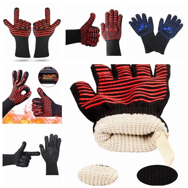 Барбекю перчатки теплостойкий гриля барбекю перчатки печь варежки 500 противопожарного Цельсия для выпечки 5 дизайнов YW1627