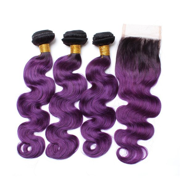 Dark Roots Grape Purple Lace Closure With Hair Bundles Dark Roots 1B purple Ombre Body Wave Virgin Hair Weaves With Closure 4Pcs/lot