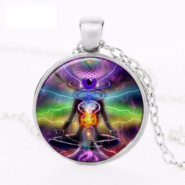 New Fashion Human Body Yoga The Last Airbender 4 Element Glass Art Pendant Chain Necklace Photo Pendants Jewelry