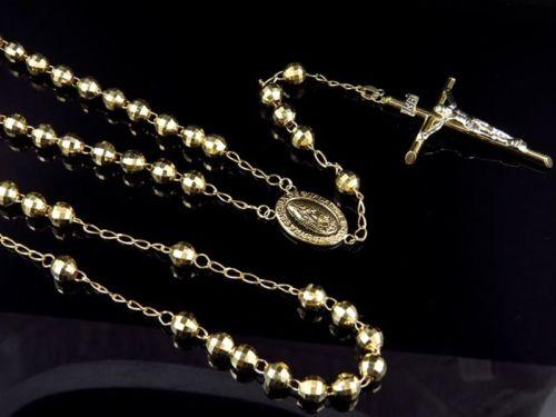 5 mm Diamond Cut MOON CUT Boule Perle Chaîne Collier 14k Or Jaune Plaqué Argent